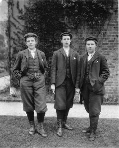 "Eleanor Morland, Gertude Cope and Alice Hutchings, Kew gardeners, pictured in1898, at RBG Kew. By 1902 all the women gardeners had left to take up horticultural posts elsewhere and it was not until World War I that female gardeners were employed at Kew again. Female gardeners wore brown bloomers, woollen stockings, waistcoats and caps, to discourage ""sweethearting"" with male colleagues."