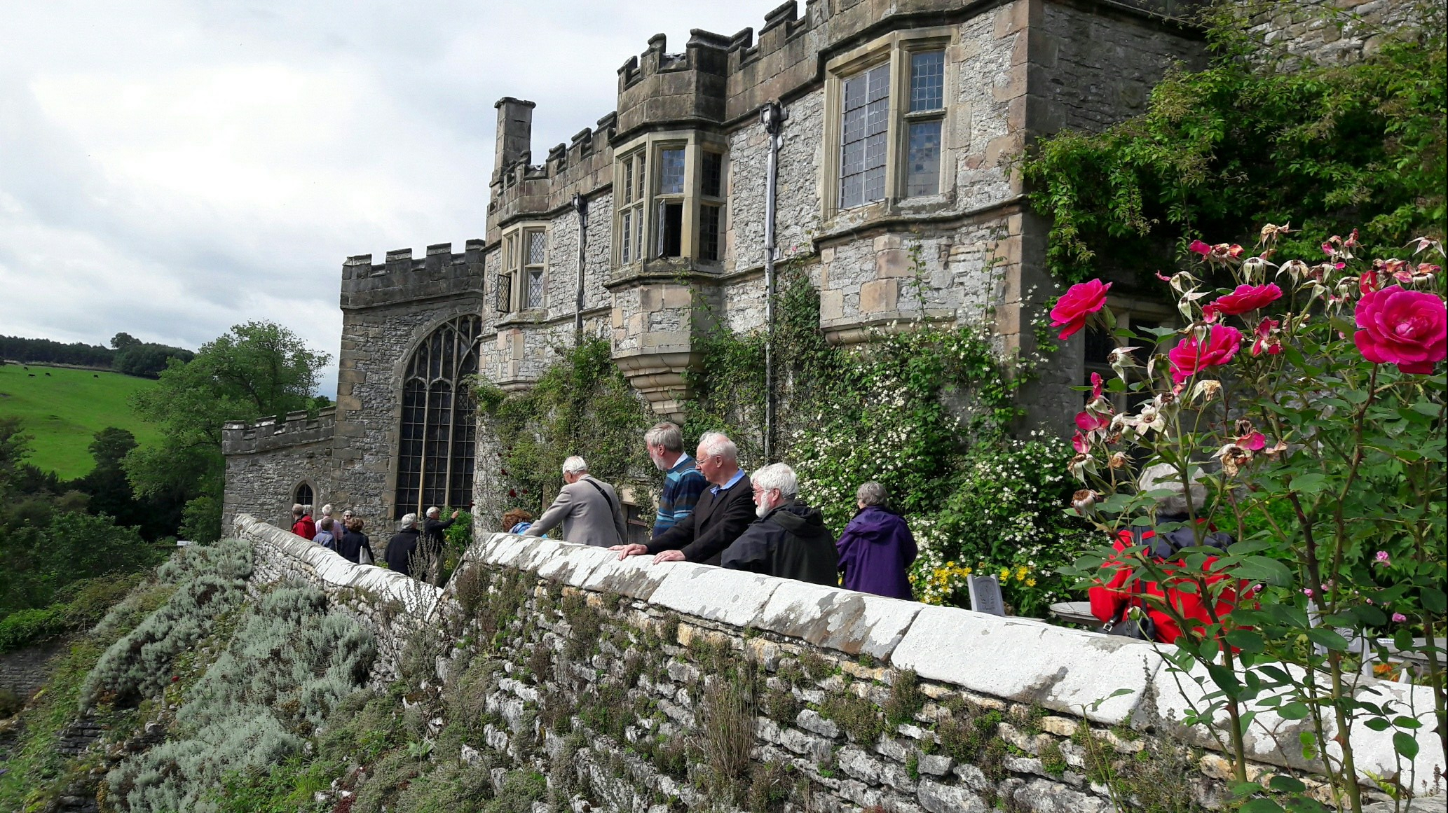 Members enjoying the views from Haddon Hall, Derbyshire, Kew Guild, 2017