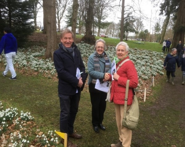 President Peter Styles looking relaxed with Jill Cowley and Trish Fisher at Colesbourne Park, 2019.