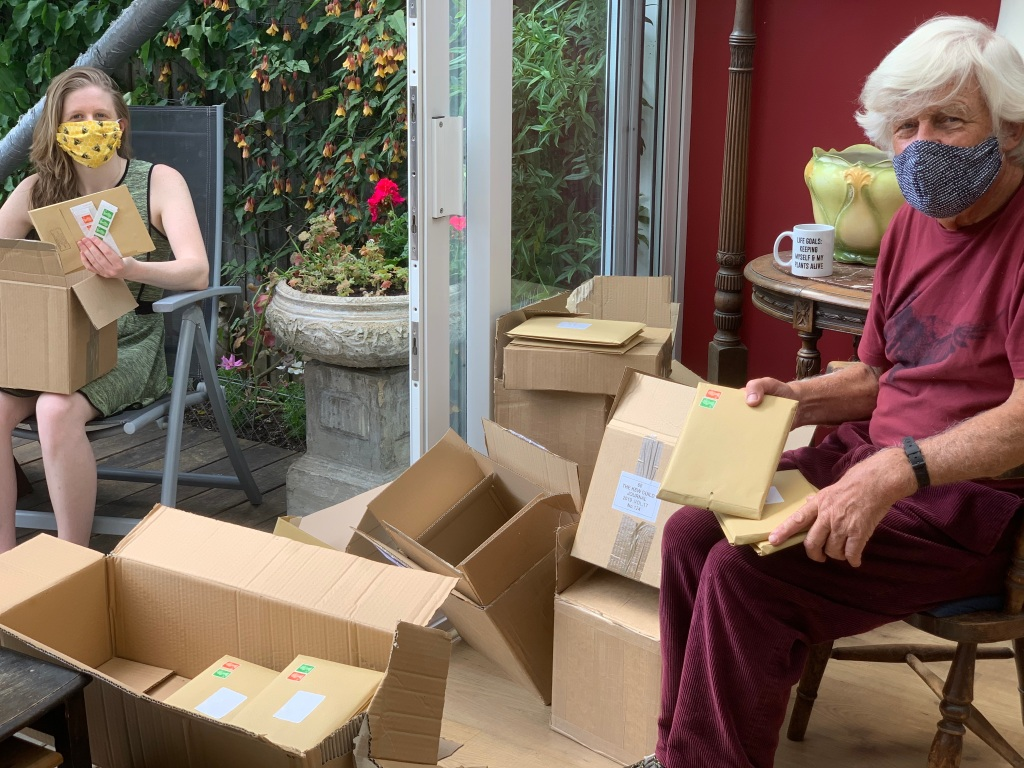 Sparkle and Richard Ward preparing the Kew Guild Journal for posting - practising social distancing of course!